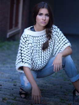 Rana Sweater Cropped by Monika Ramizi Handmade Knitwear